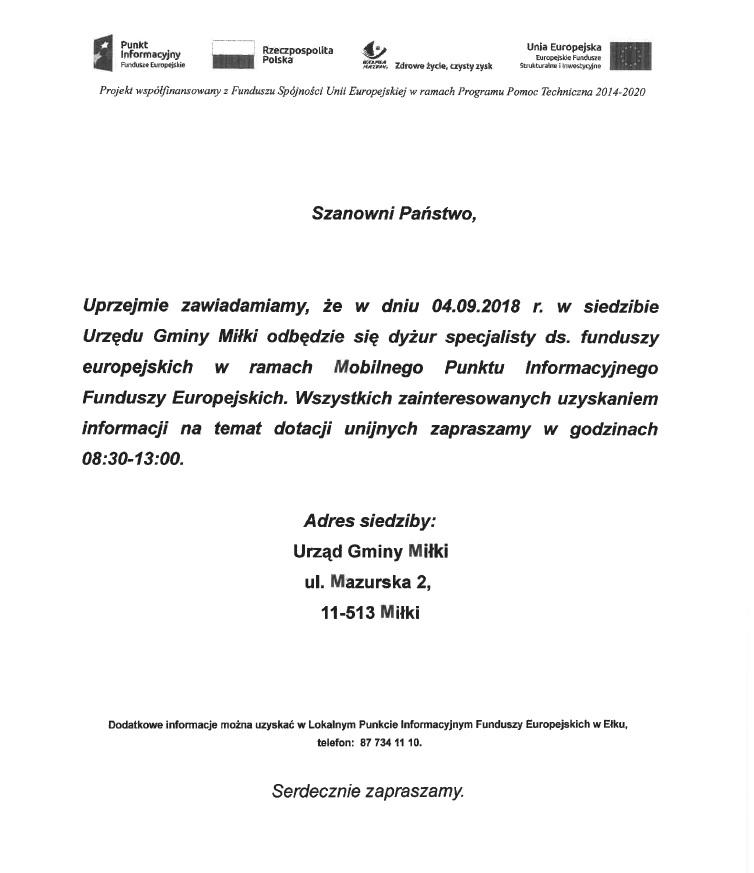 Dyżur specjalisty ds. funduszy europejskich 04.09.2018
